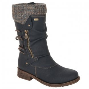 Remonte D8070-01 Ladies Black Combination Calf-Length Boots